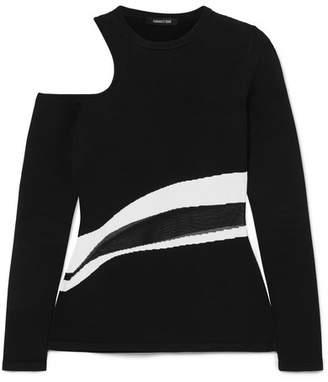 Cushnie et Ochs Cold-shoulder Knitted Top - Black