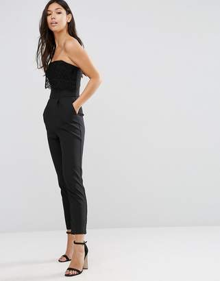 Traffic People Bandeau Jumpsuit With Crochet Overlay