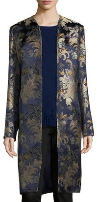 Ralph Lauren Cora Brocade Long Open Coat, Petrol/Multi $2,990 thestylecure.com
