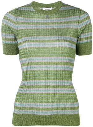Courreges lamé stripe knitted top