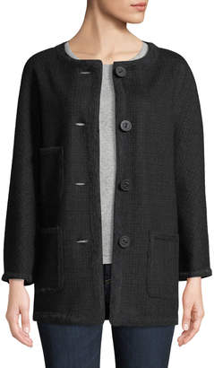 Leon Max Button-Front Wool-Blend Coat