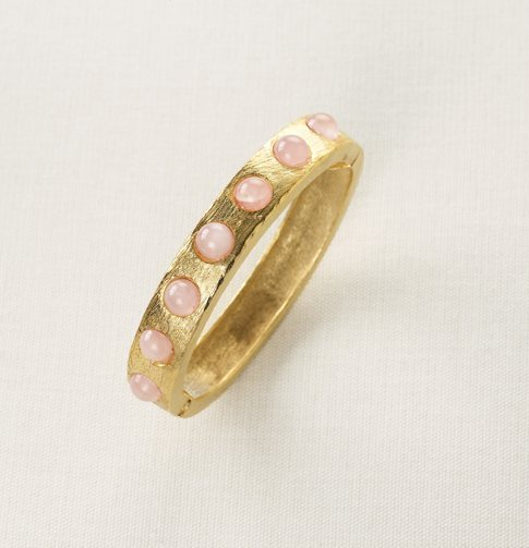 Gold Hinged Bracelet with Pink Stones
