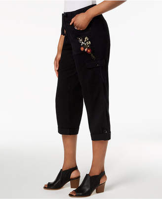 Style&Co. Style & Co Bloomfields Embroidered Cargo Capri Pants, Created for Macy's