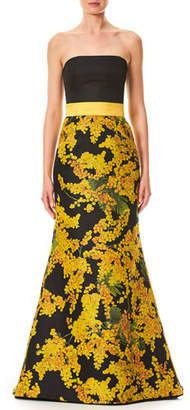 Carolina Herrera Strapless Mimosa-Flower Print Trumpet Evening Gown