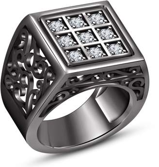 Splendid TVS-JEWELS 925 Sterling Silver Black Rhodium Plated Beautiful Design With Cubic Zirconia Wedding + Engagement Ring Set (12.5)