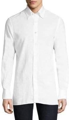 Canali Long-Sleeve Cotton Button-Down Shirt