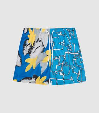 Reiss RUSSO ABSTRACT PRINTED SWIM SHORTS Cobalt