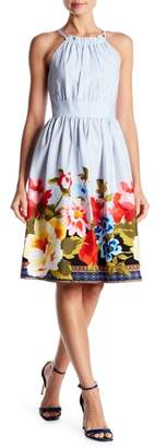 Vince Camuto Striped Floral Fit & Flare Dress