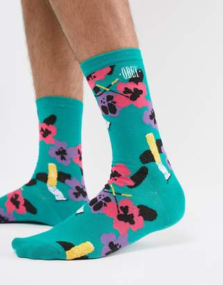 Obey Ashed Out Socks In Green