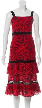 Prabal Gurung Eyelet Tiered Dress Red Eyelet Tiered Dress