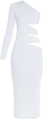 BALMAIN Cutaway-side one-shoulder midi dress $2,135 thestylecure.com