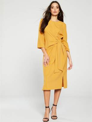 Warehouse Twist Knot Dress - Mustard