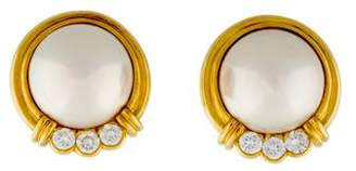 Mikimoto 18K Pearl & Diamond Earrings
