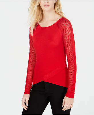 Say What Juniors' Crisscross Contrast Sweater