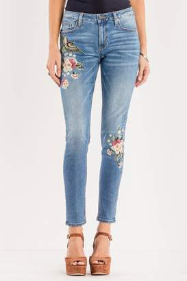 Miss Me Floral-Embroidered Midrise Skinny