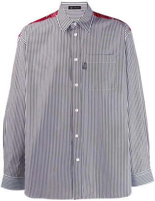 Versace contrast panel striped shirt