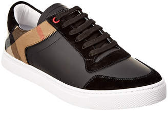 Burberry Leather & House Check Low-Top Trainer