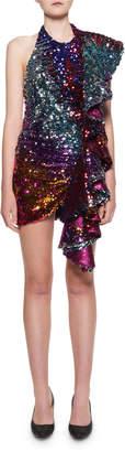 Halpern Sequined Cascading-Ruffle Side Mini Dress