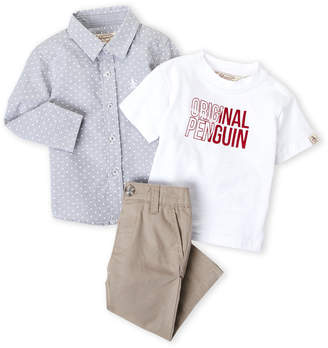 Original Penguin Infant Boys) 3-Piece Printed Shirt & Chino Pants Set