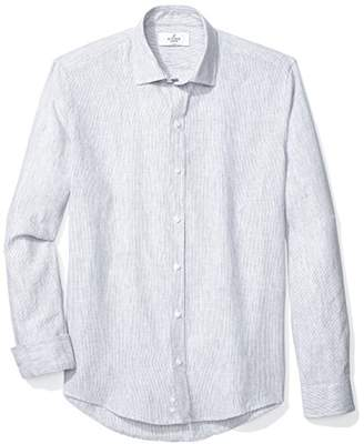 Buttoned Down Men's Slim Fit Spread-Collar Casual Linen Cotton Shirt