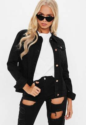 Missguided Black Regular Fit Denim Jacket