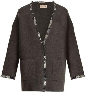 Christopher Kane Sequin-embellished V-neck wool-blend knit cardigan