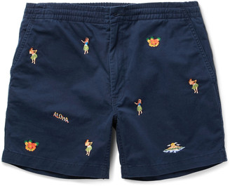 Polo Ralph Lauren Slim-Fit Embroidered Stretch-Cotton Twill Shorts $70 thestylecure.com