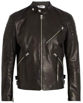 Acne Studios Oliver Chevron Leather Jacket - Mens - Black