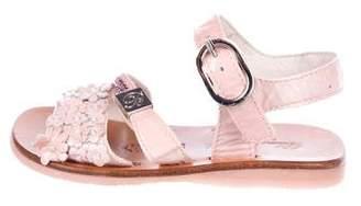 Blumarine Girls' Patent Leather Round-Toe Sandals