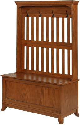 Powell Furniture Collection Multi-Functional Entryway Hall Tree Coat Rack, Oak