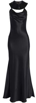 Cushnie et Ochs Bead-Embellished Fluted Silk-Satin Gown