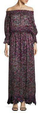Elie Tahari Danielle Floral Print Off-The-Shoulder Gown $498 thestylecure.com