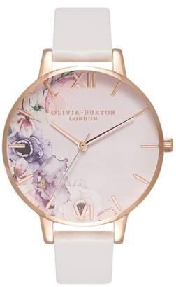 Olivia Burton Watercolour Florals Leather Strap Watch, 38mm