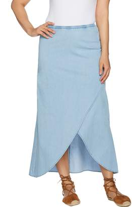 Denim & Co. Studio by Faux Wrap Chambray Skirt