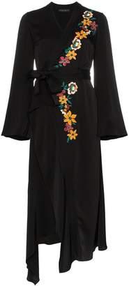 Etro flower embroidery wrap dress