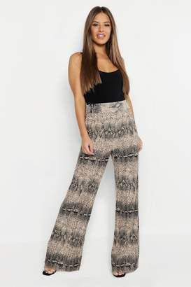 boohoo Petite Snake Print Pleated Wide Leg Pants