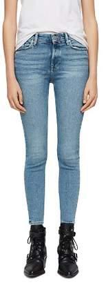 AllSaints Grace Zip-Hem Cropped Skinny Jeans in Indigo Blue