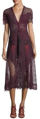 Jonathan Simkhai Plunging Short-Sleeve Lace Midi Dress