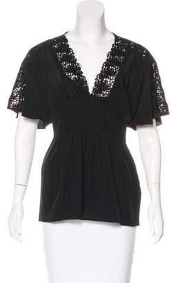 Tibi Short Sleeve V-Neck Top