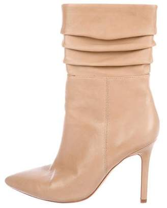 Halston Leather Pointed-Toe Boots