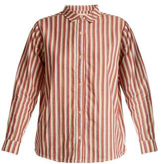 The Great The Campus Striped Cotton Shirt - Womens - Red White