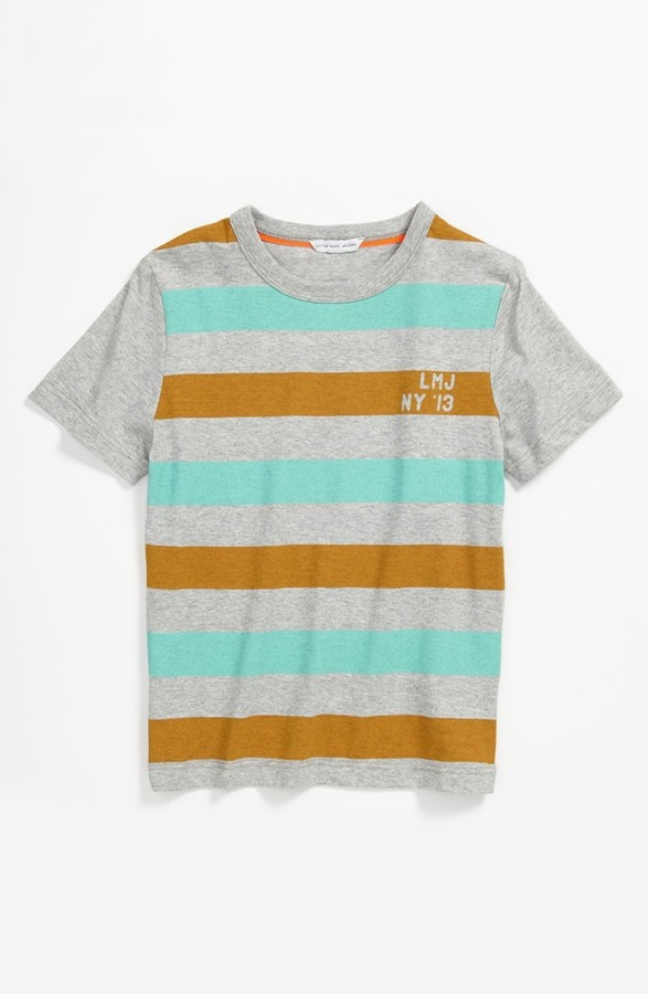 Little Marc Jacobs Stripe T-Shirt (Big Boys) Grey 12