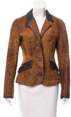 Henry Beguelin Notch-Lapel Leather Blazer