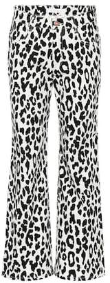 See by Chloe Mid-rise printed flared jeans