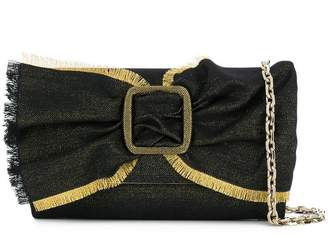 Casadei denim bow clutch