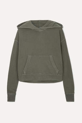 James Perse Cropped Cotton-jersey Hoodie - Green