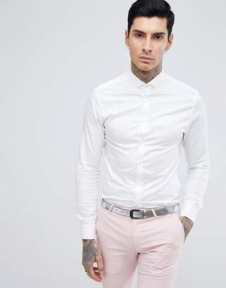 Asos DESIGN skinny fit sateen shirt with double cuff and wing collar
