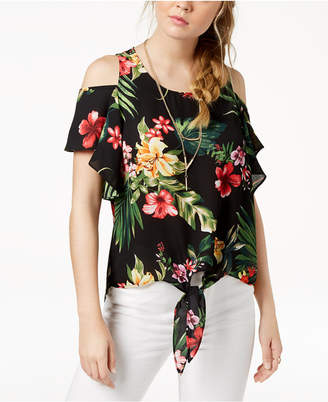 BCX Juniors' Printed Cold-Shoulder Knot-Front Top