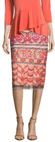 Embroidered Midi Pencil Skirt