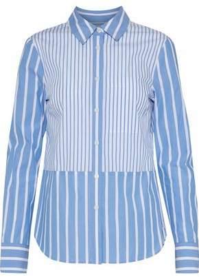 Derek Lam 10 Crosby Paneled Striped Cotton-Poplin Shirt